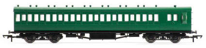Hornby SR 58' Maunsell Rebuilt (Ex-LSWR 48') Eight Compartment Brake Third Class Non-Corridor, SR Olive   - R4717