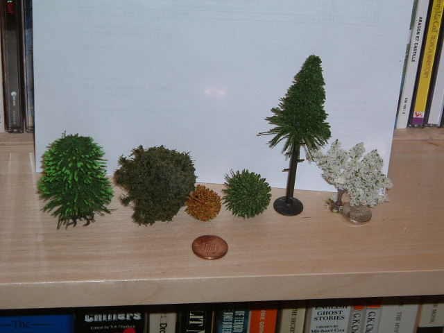 Model railway bottle brush trees